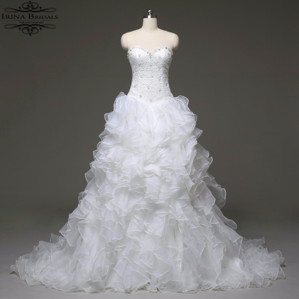 high quality off the shoulder lace tiered pleat organza princess style wedding dresschina