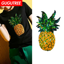 GUGUTREE embroidery Sequins big pineapple patches fruits badges applique for clothing ZM-54