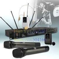 Одежда высшего качества EW240 4 канала Беспроводной система микрофонов UHF караоке Системы беспроводные четыре ручной микрофон поясной дома Ве