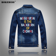 ROKEDISS Fashion Mens Jean Jackets Slim Fit Ripped Denim Jacket With Patches Male Vintage printing Men's denim jacket W072
