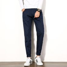 New 2017 Men's Casual Korean version Multi-color Solid Color Big Yards Men Full Length Pants Male Pencil Trousers Navy Blue