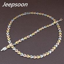 4 цвета на выбор, модные ювелирные изделия из нержавеющей стали, цепочка в виде листа, ожерелье и браслет, набор для женщин SFKGAVEC