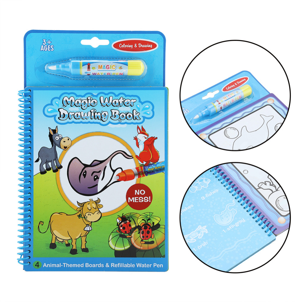 Magic Water Drawing Book Coloring Book Doodle with Magic Pen ...