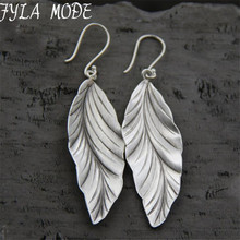 925 Thai Silver New Design Style Fashion filigree Charm Elegant Simple Vintage Big Leaf Earrings Drop Jewelry Women 21*58MM 9.30