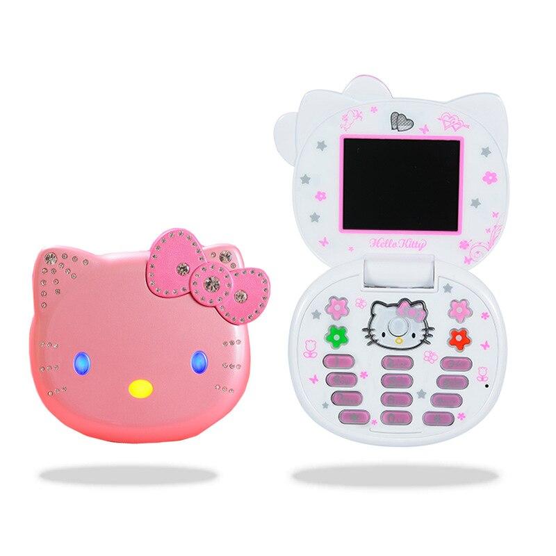 Cute Mini Hello Kitty Girl Phone Quad Band Dual SIM Flip Cartoon Mobile Phone Unlocked Kids Children Cell Phone Free Watch Gift mobile phone