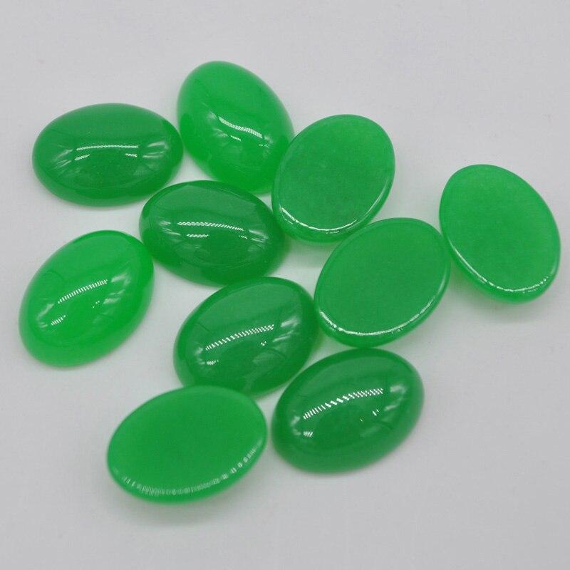 Free Shipping Fashion Jewelry 13x18MM Natural Green Jad CAB Cabochon 10Pcs K1598
