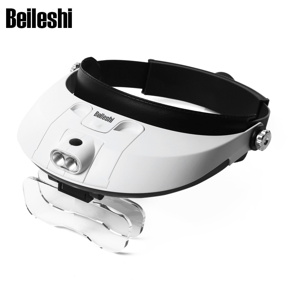 Beileshi 6X Glasses Magnifier Eyewear Detachable 2-LED Headband Illuminated Magnifier with 5 Replaceable Lens Magnifying Glass
