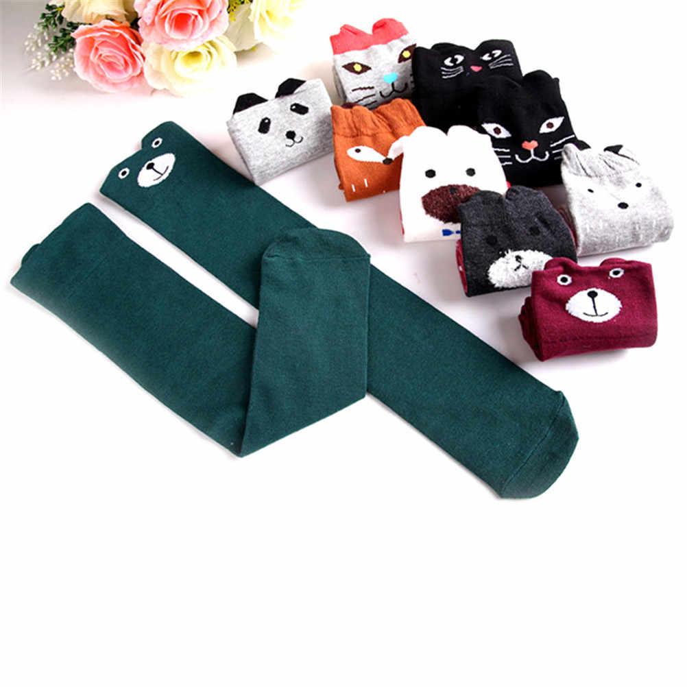1 คู่ Kawaii การ์ตูนผ้าฝ้ายเด็ก Anti SLIP ถุงเท้าเข่าสูงแมวขาอุ่นสัตว์พิมพ์เด็กสาวถุงเท้า