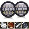 105W 7 Round LED Headlights White DRL Amber Turn Signal For Hummer H1 H2 H3 LED