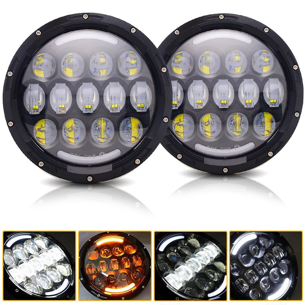 105W 7 Round LED Headlights White DRL / Amber Turn signal For Hummer H1 H2 H3 LED Projector DRL 7 inch Headlamp Lada niva 4x4 rastar 28500 hummer h2 page 7