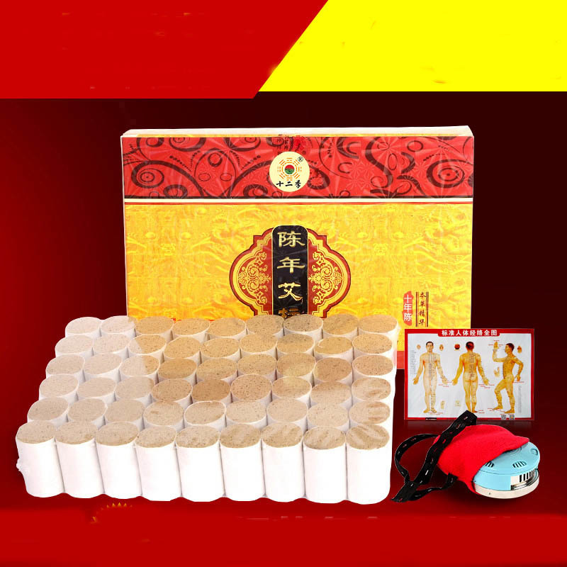 portable Stainless steel massage box with 54pcs 10 years moxa stick moxibustion apparatus portable thicken pure stainless steel body moxibustion device moxa box new type