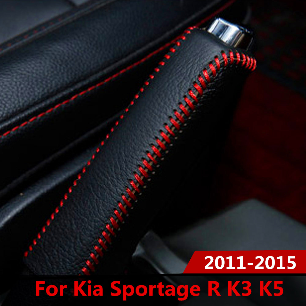 Leather Hand Brake Cover Protective Sleeve Accessories For Kia Sportage R Cerato K3 K5 Sorento 2011-2015 Handbrake Grips Case