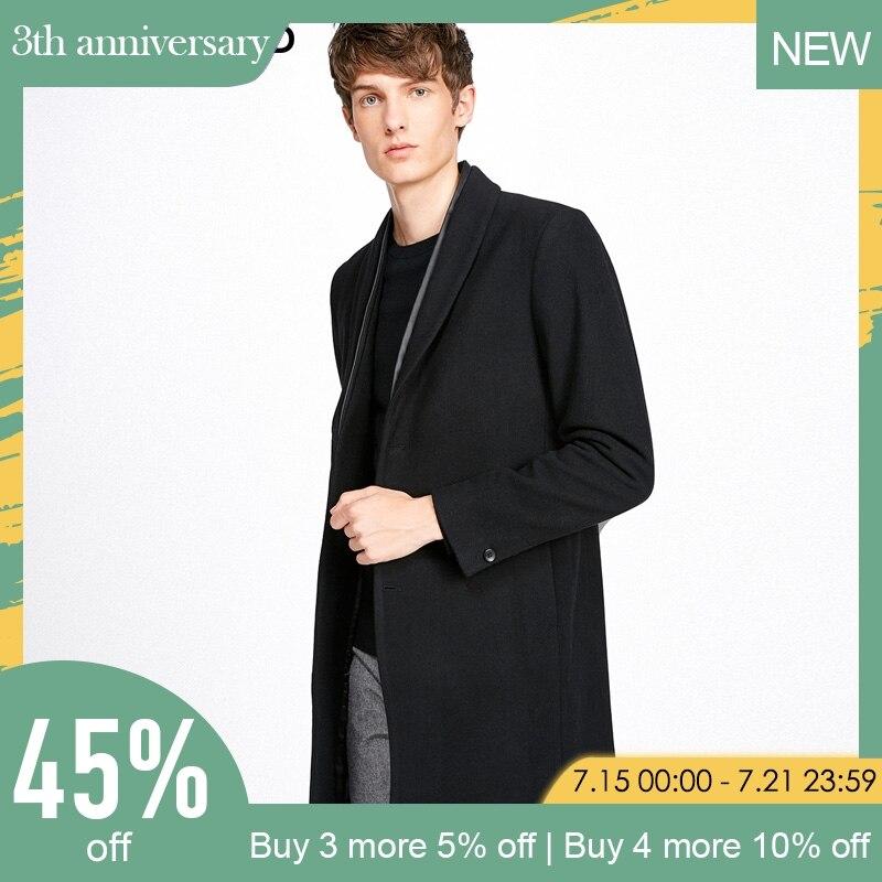 SELECTED men lapel collar wool coat| 417427521