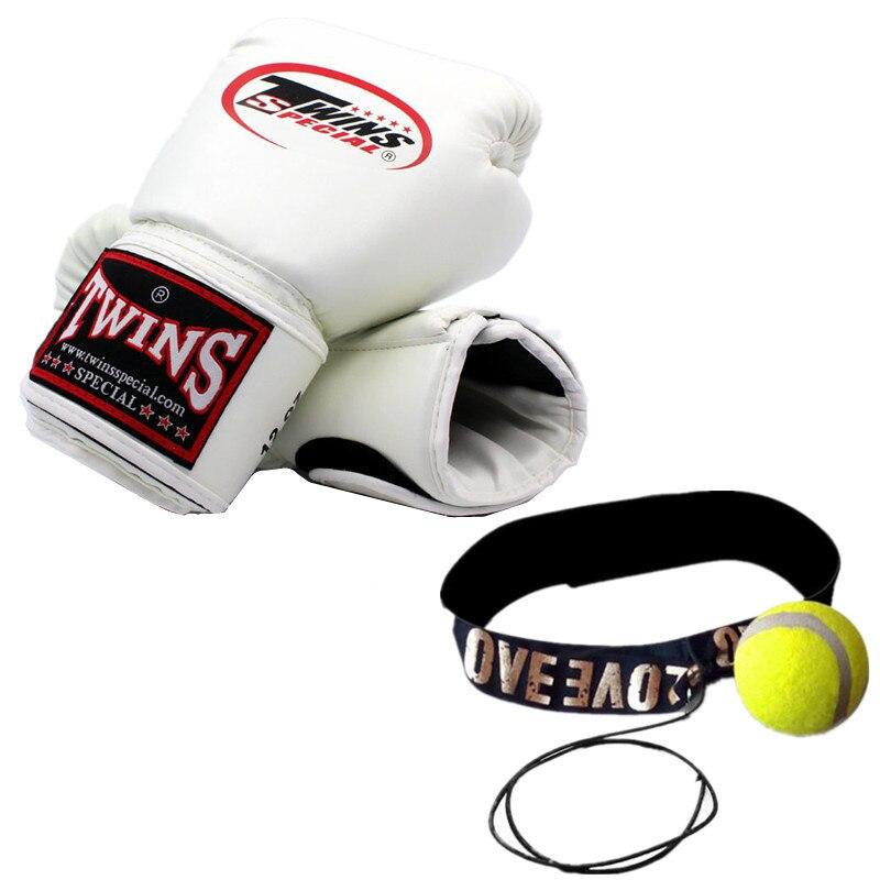 1 paire de jumeaux PU Muay Thai gants de boxe + 1 pièce coup de pied boxe vitesse balle MMA femmes hommes formation poinçon mitaines luvas boxeo Guantes