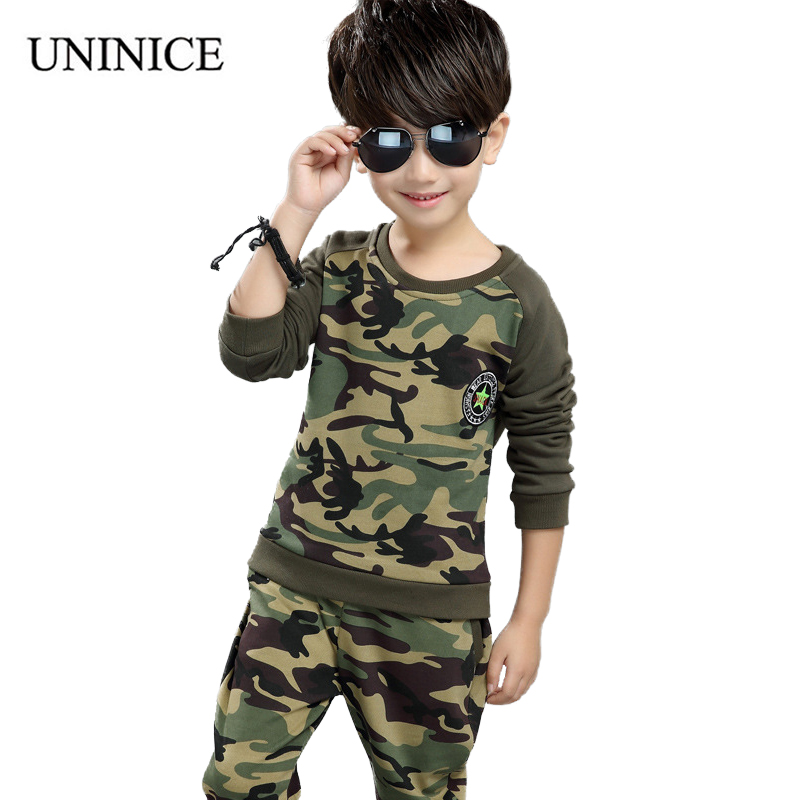 UNINICE Spring/Autumn Children Clothing Camouflage Casual Sports Suit New Year's Costumes For Boys Tracksuit Boys Kids Clothes