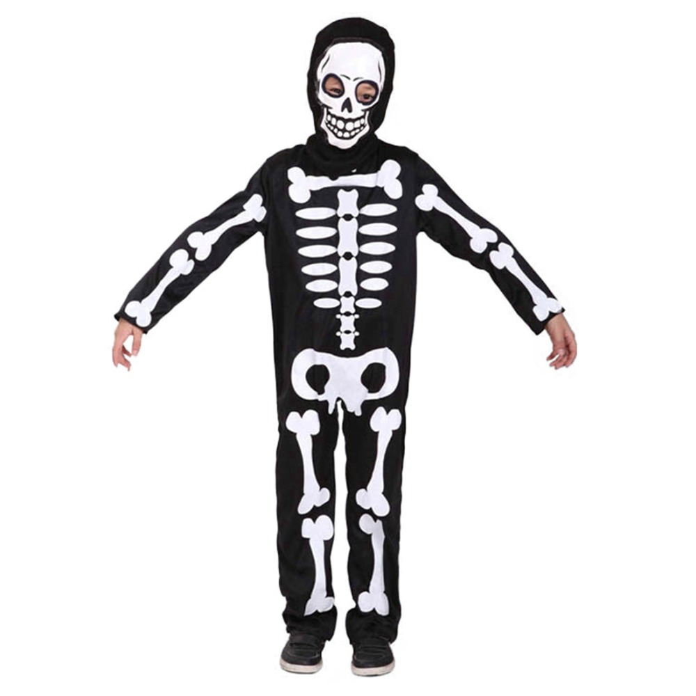 Children Skull Skeleton Dress Boys Devil Ghost Horror Clothing Masquerade Party Kids Scary Costume plastic standing human skeleton life size for horror hunted house halloween decoration