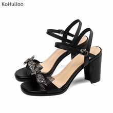 купить KoHuiJoo Women Summer Genuine Leather Sandals Comfortable Square High Heels Sandals Ladies Fashion  Rhinestone Luxury Shoes по цене 4954.48 рублей