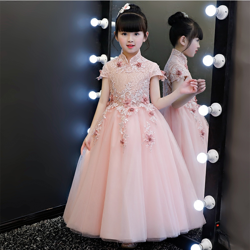 New Children Girls Short Sleeves Princess Lace Flowers Dresses Clothes Christmas Birthday Wedding Tutu Dresses For Girls Costume