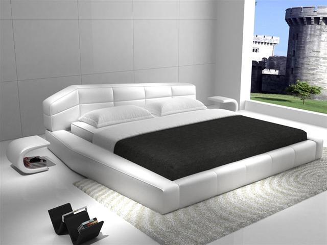 2017 nueva contemporáneo moderno de cuero cama para dormir simple a cuadros blanco muebles de dormitorio de matrimonio Hecho en China