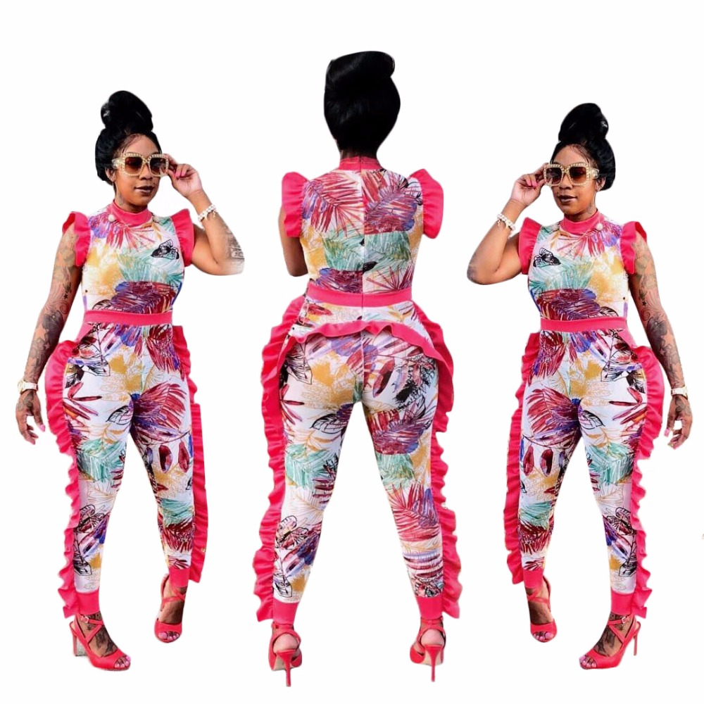 Double Side Ruffle Details One Piece Coveralls High Neck Sleeveless Floral Print Back Zipper Skinny Jumpsuit Women Plus Size 3XL