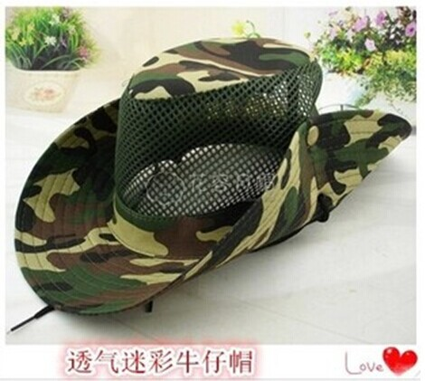 Woodland camouflage western cowboy hat Sun hats for men and women summer  outdoor summer fishing net 20 male hat eb663293b8e
