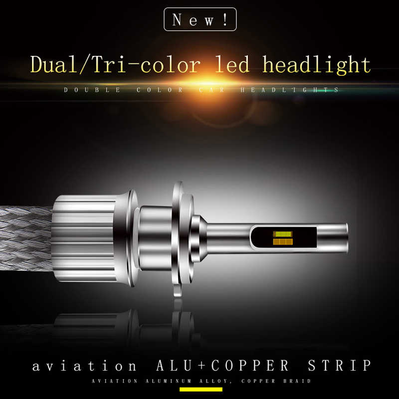 Hot sell fanless auto LED lamp 3000k 4300k 6000k Dual/ Tri-color LED headlight for car H1 H4 H7 H8 H9 H11 9012 9005/HB3 9006/HB4