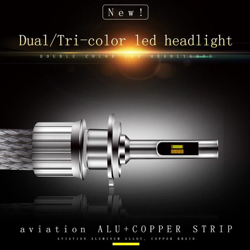 Vente chaude sans ventilateur auto lampe à LED 3000 k 4300 k 6000 k Double/Tri-couleur phare LED pour voiture H1 H4 H7 H8 H9 H11 9012 9005/HB3 9006/HB4