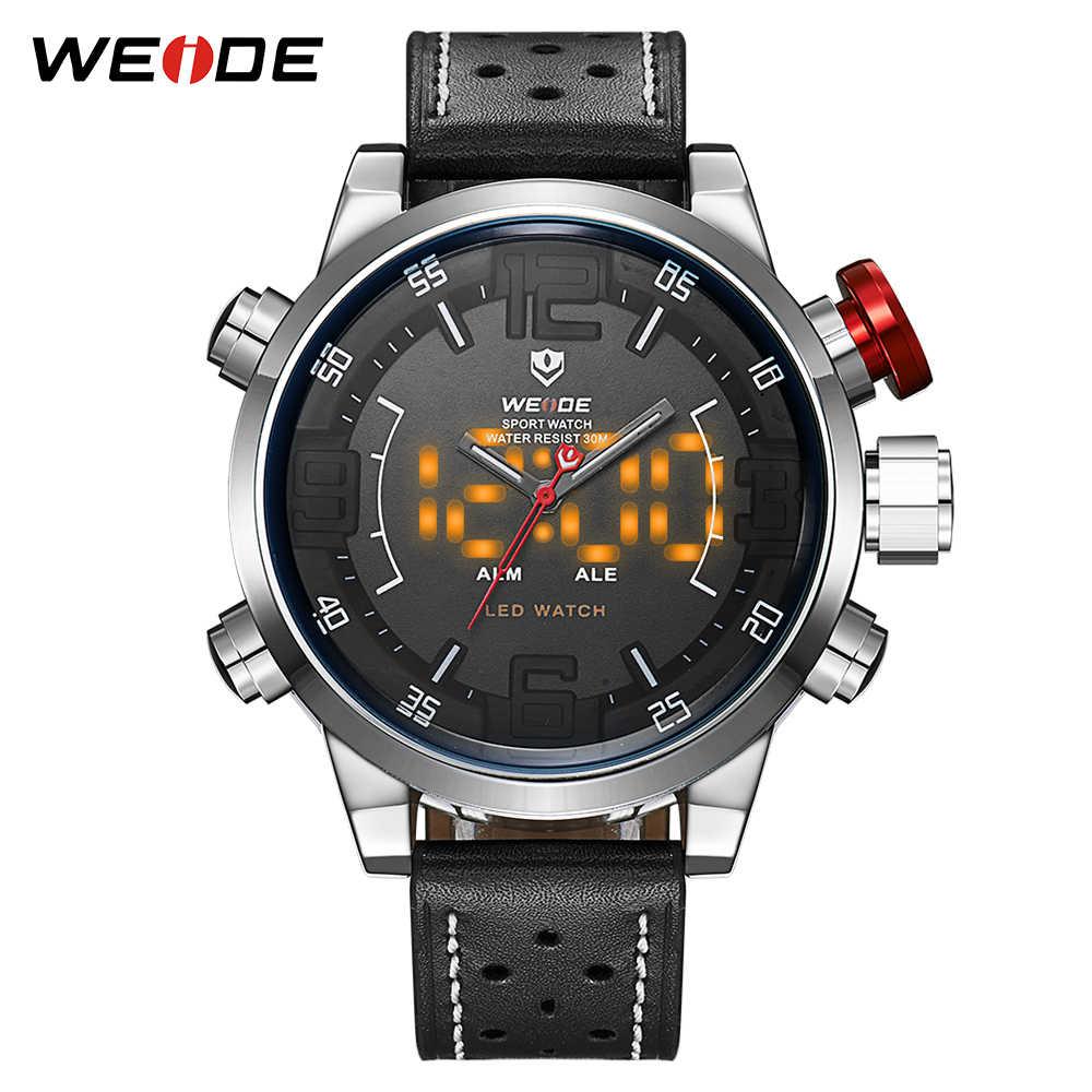 edeff9e9186 WEIDE Top Luxury Sports Alarm Digital Waterproof Leather Strap Men s Quartz  Military Male Wrist Watches Clock
