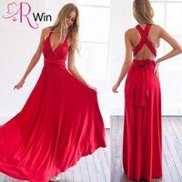 Mrs Win Party Dress Elegant Summer Women Long Dress V Neck Multi Rope Cross Halter Sexy