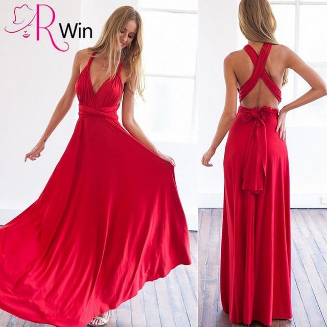 Sexy Women Boho Maxi Club Dress Red Bandage Long Dress Party Multiway  Bridesmaids Convertible Infinity Robe Longue Femme 2018 b73bf225cf48
