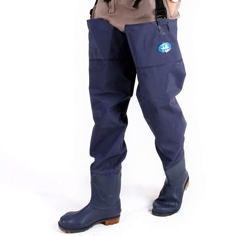 все цены на Man Fishing Pants Fishing Waders Blue PVC Material Breathable Chest Waders Rubber Water proof High Quality Watboots