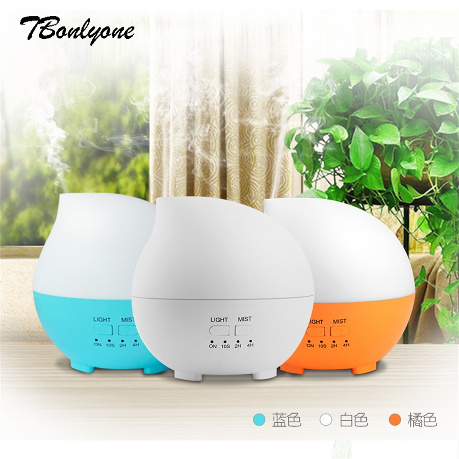 TBonlyone 300ml Colorful Ultrasonic Aroma Diffuser Aromatherapy Air Humidifier with Timer Essential Oil Diffuser Fog Humidifiser