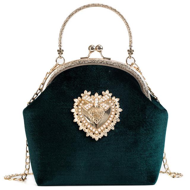 Vintage Velvet Pearl Velour Heart Design Wedding Clutch