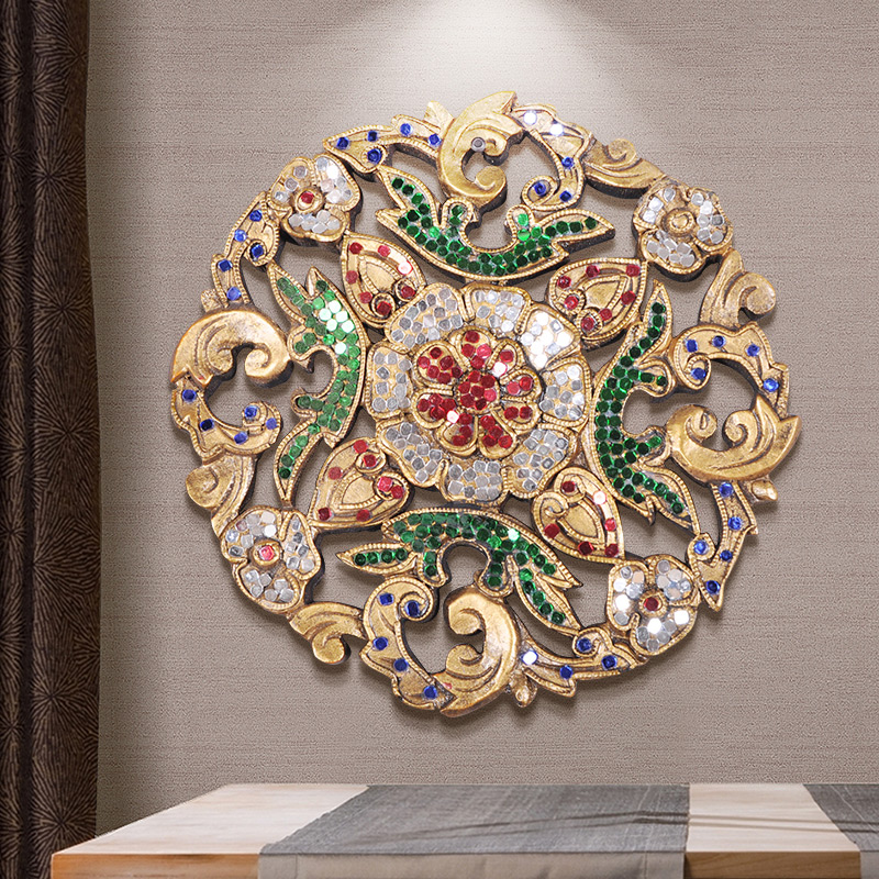 Crafts small carving plate Southeast Asian wall decoration wood painting Club decoration crafts|Decorative Boards| |  - title=