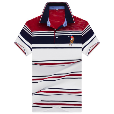 Brand New Fashion Men   Polo   Shirts 2019 Summer Luxury horse embroidery Breathable Camisa Masculina Striped   Polo   Men