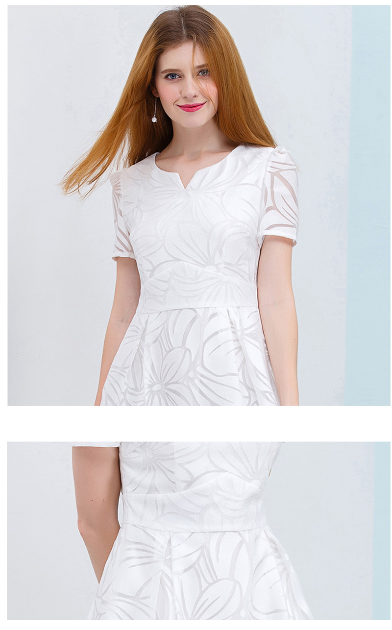 ONLY PLUS S-XXL Women White Dress Short Sleeve A-Line Midi Party Dress Casual Elegant Knee Length Dresses 2018 8