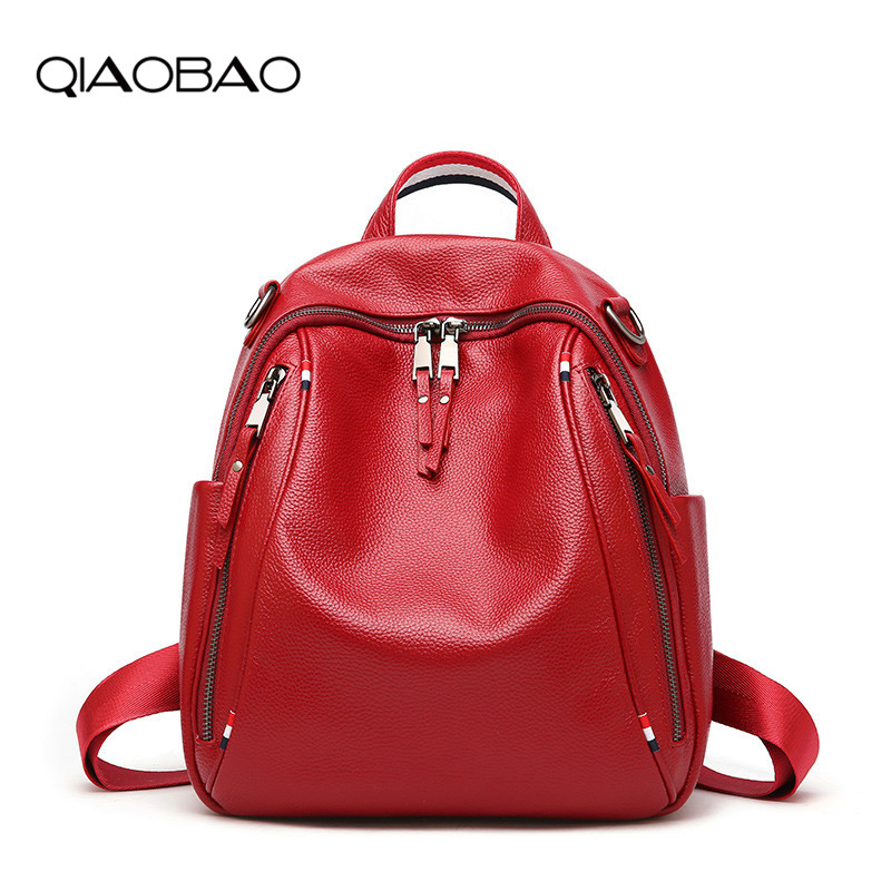 QIAOBAO  2018 Hot Sale Female Backpack Women Bag Genuine Leather Cowhide Backpack Travel Casual Girls School Shoulder Backpacks zency genuine leather backpacks female girls women backpack top layer cowhide school bag gray black pink purple black color