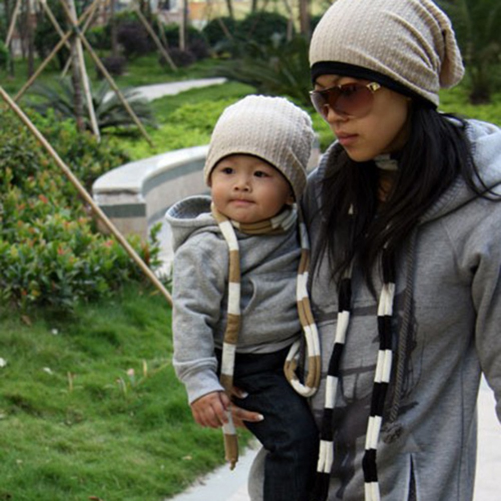 2017 New Parent Child Caps Autumn Fashion Women Caps Winter Hat For Baby And Adult 793934 parent