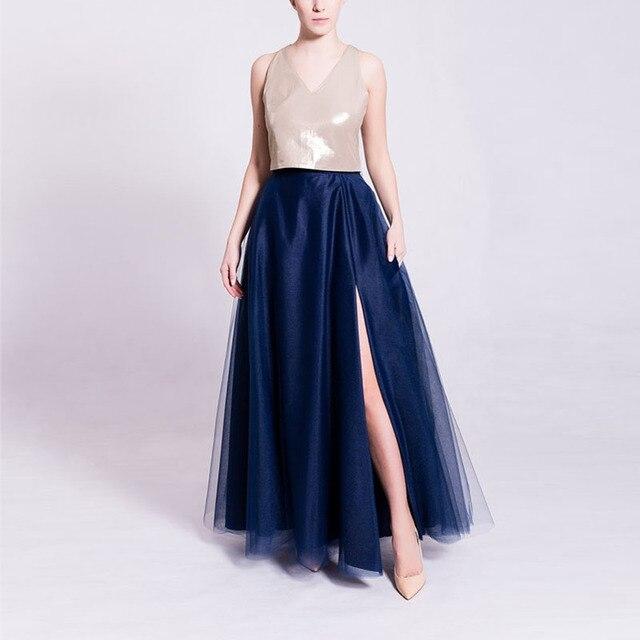 a3a97b80e0 Sexy Side Slit Maxi Tulle Skirt for Women Zipper Waist Floor Length Navy  Blue Tutu Long Skirt Faldas Jupe Saia Longa Custom Made
