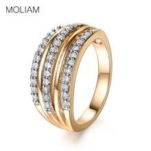 26f564d7dd60 MOLIAM Moda mediados anillos para mujeres oro Color Cubic Zirconia cristal  anillo Bague joyería Día de la madre regalos MLR608