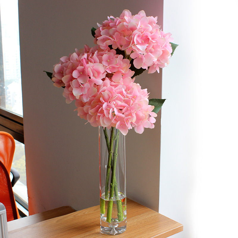Artificial Flowers 2015 Real Touch Hydrangeas With Large Glass Vase