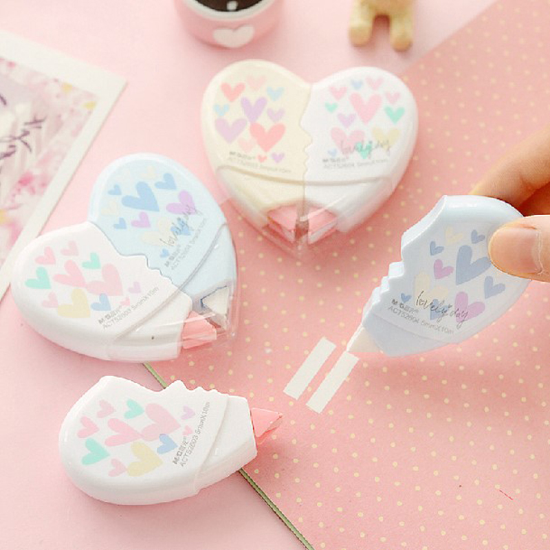 2pcs/pack 10 Meters Cute Creative Heart To Heart Correction Tape Corrective Erasers School Office Supply Student Stationery Gift