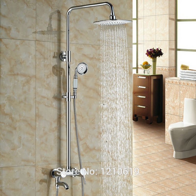 Newly Euro Style Bathroom Shower Faucet Set Chrome Finished 8 Rain Shower Tub Mixer Faucet Tap Wall Mounted china sanitary ware chrome wall mount thermostatic water tap water saver thermostatic shower faucet