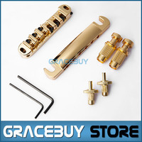 Guitar Bridge Locking Roller Tune O Matic TOM Bridge And Tailpiece Gold Set For LP Electric