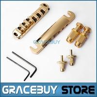 Guitar Bridge Locking Roller Tune O Matic TOM Bridge And Tailpiece Gold Set For LP Electric