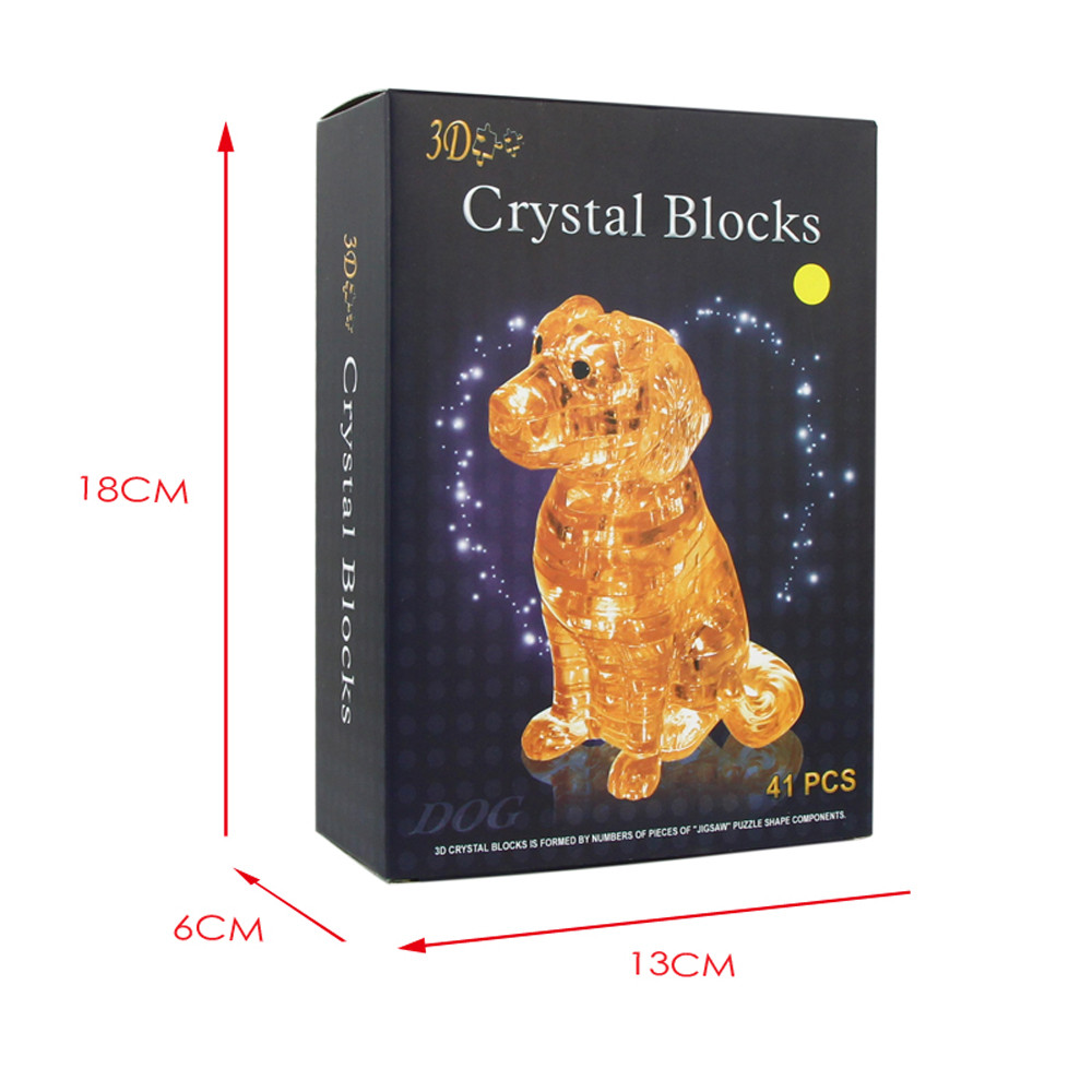 3D Crystal Puzzle Cute Dog Model DIY Gadget Blocks Building Toy Gift Education Toy Baby Toys & Games Children