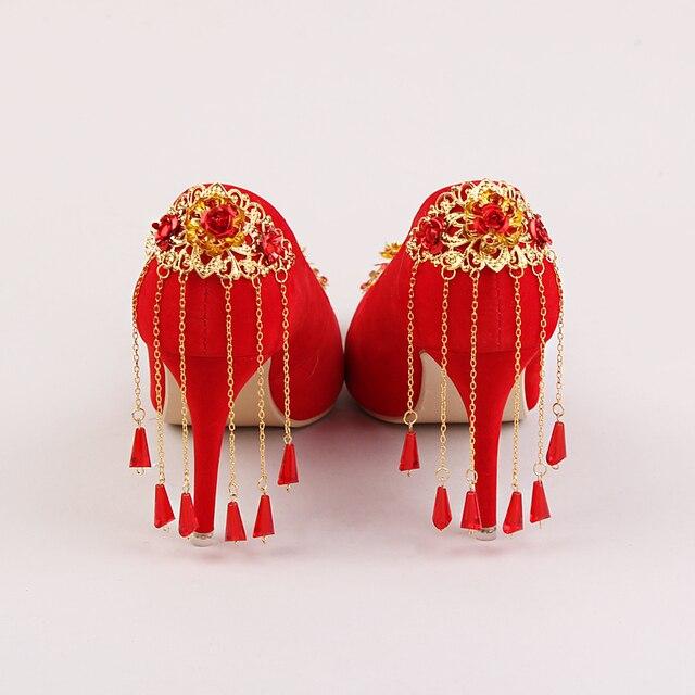 Original Spring Summer Wedding Shoes Woman Shanda Cinderella Glass Slipper Leather Retro Bridal Crystal High Heels