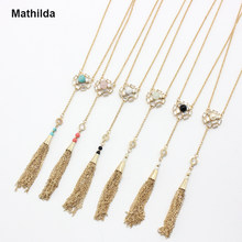 Mathilda Fabulous Natural Stone Flower Pendant Necklace Chain Tasses Pendant Long Necklace Statement Necklace Women Jewelry D209(China)