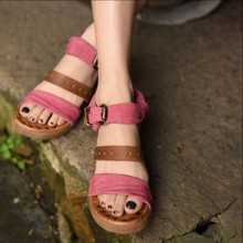 Handmade genuine leather women's shoescolor block decoration open toe wedges buckle strap women sandals ZH372-4