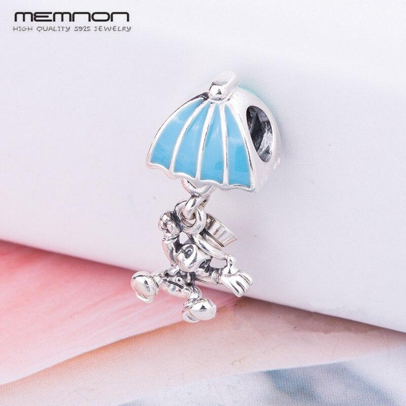 2018 Neue Nette Regenschirm Trägt Hut Eichhörnchen Charme 925 Sterling Silber Perlen Fit Armband Halskette Diy Für Frauen Memnon Schmuck GläNzend